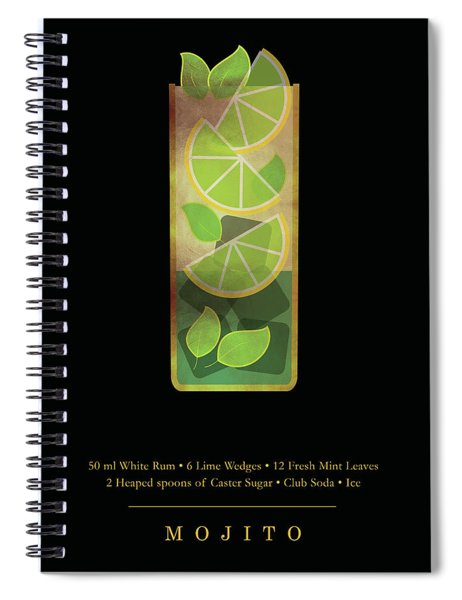Mojito - Cocktail - Classic Cocktails Series - Black And Gold - Modern, Minimal Decor Spiral Notebook