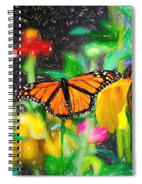 Monarch Butterfly Colored Pencil Spiral Notebook