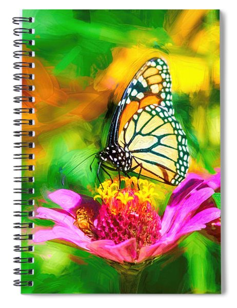 Monarch Butterfly Impasto Colorful Spiral Notebook