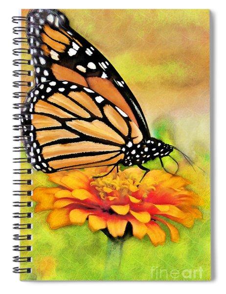 Monarch Butterfly On Flower Spiral Notebook