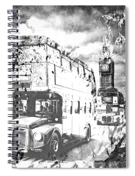 Monochrome Art London  Spiral Notebook by Melanie Viola