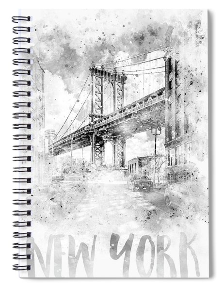 Monochrome Art Nyc Manhattan Bridge - Watercolor Spiral Notebook by Melanie Viola