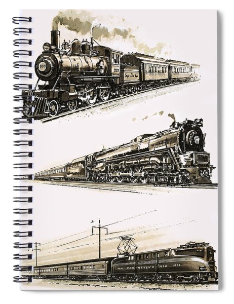 Montage Of Us Trains Spiral Notebook