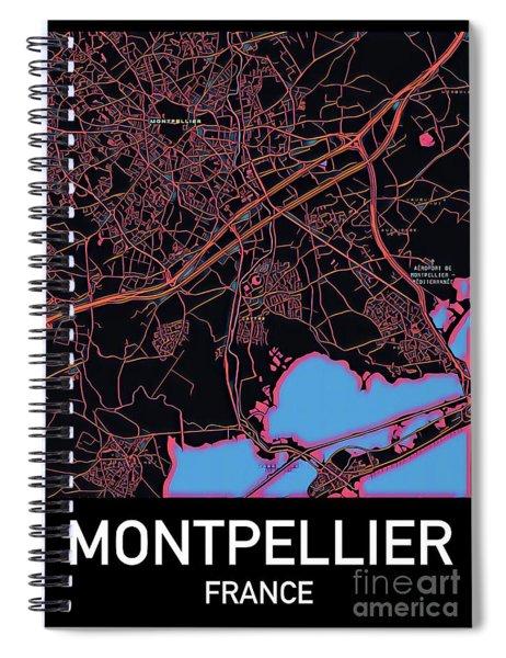 Montpellier City Map Spiral Notebook