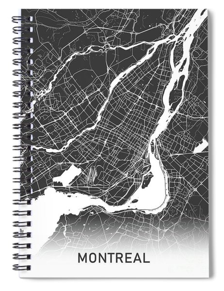 Montreal Map Black And White Spiral Notebook