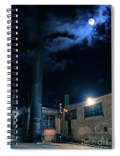 Moon Over Industrial Chicago Alley Spiral Notebook