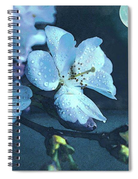 Moonlit Night In The Blooming Garden Spiral Notebook