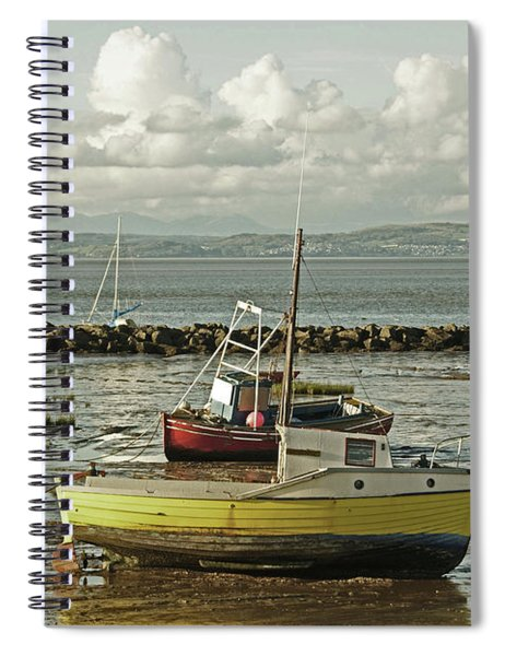 Morecambe. Boats On The Shore. Spiral Notebook