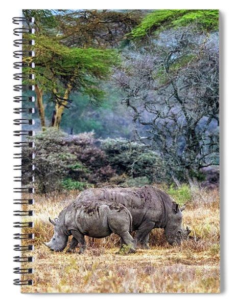 Mother And Baby White Rhinos In Lake Nakuru Spiral Notebook