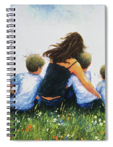 Mother And Three Sons Hugging Blonde Boys Spiral Notebook