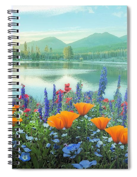 Mountain Summer Blooms Misty Morning Spiral Notebook