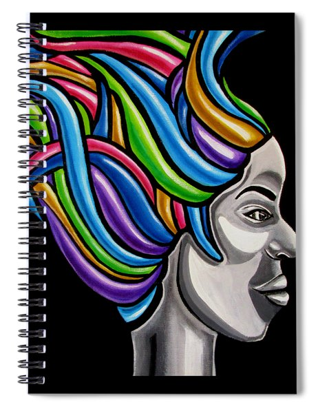 Colorful 3d Abstract Painting, Black Woman, Colorful Hair Art Artwork - African Goddess Spiral Notebook