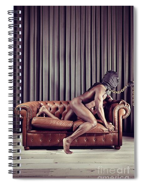 Naked Man With Mask On A Sofa Spiral Notebook