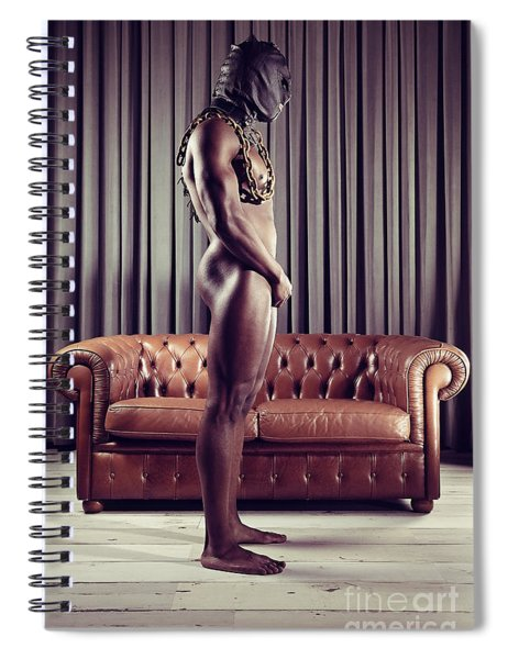 Naked Man With Mask Standing In Front Of A Sofa Spiral Notebook