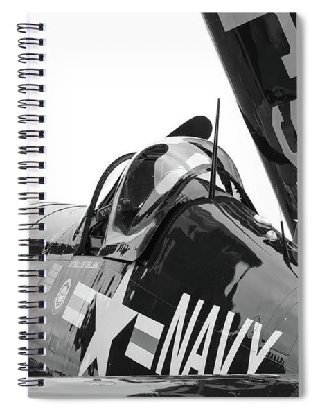 Navy Corsair In Black And White Spiral Notebook