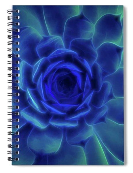 Spiral Notebook featuring the digital art Neon Blue Sempervivum by Scott Lyons