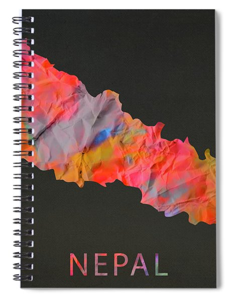 Nepal Tie Dye Country Map Spiral Notebook