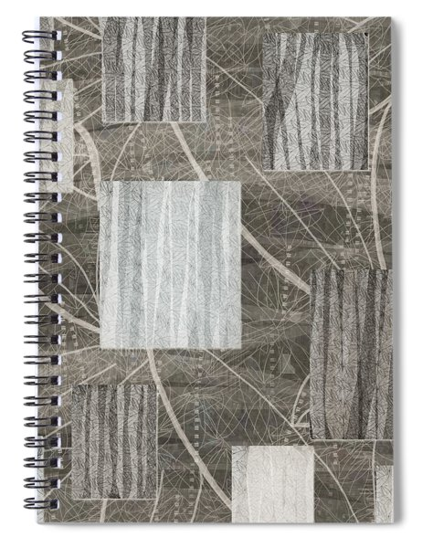 Neutral Leaf Print Squares Cream Spiral Notebook