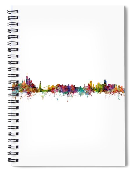 New York And Miami Skylines Mashup Spiral Notebook