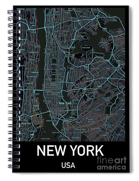 New York City Map Black Edition Spiral Notebook