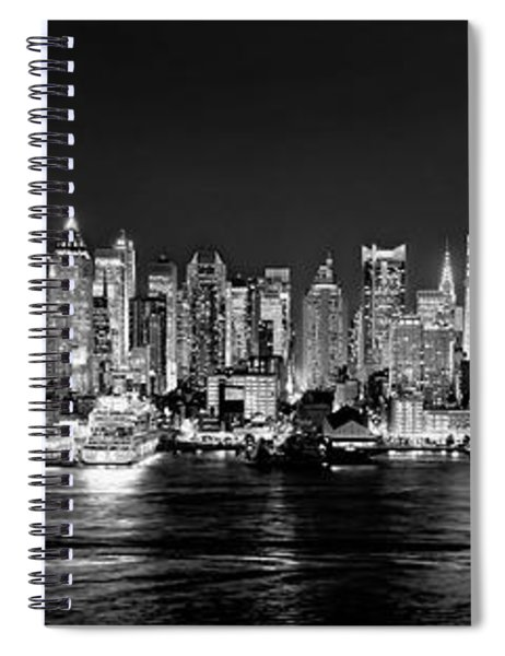 New York City Nyc Skyline Midtown Manhattan At Night Black And White Spiral Notebook