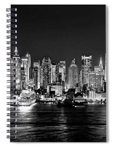 New York City Nyc Skyline Midtown Manhattan At Night Black And White Spiral Notebook