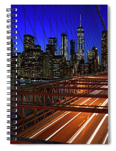 New York Skyline From The Brooklyn Bridge Spiral Notebook