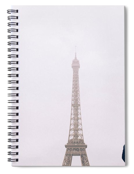 Newly-wed Couple On Their Honeymoon In Paris, Loving Having A Date Near The Eiffel Tower Spiral Notebook