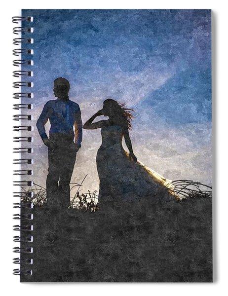Newlywed Couple After Their Wedding At Sunset, Digital Art Oil P Spiral Notebook