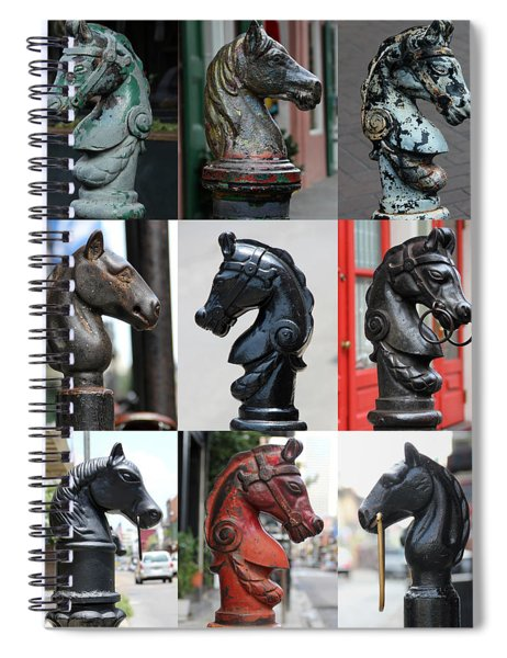 Nine Horse Head Hitching Posts Spiral Notebook