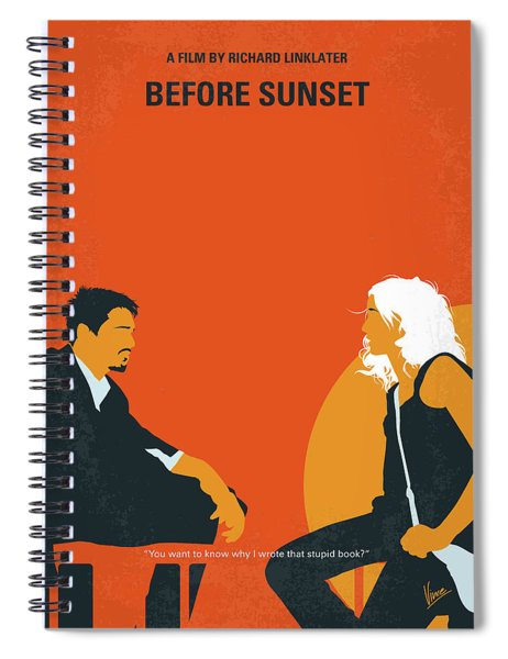 No1012 My Before Sunset Minimal Movie Poster Spiral Notebook