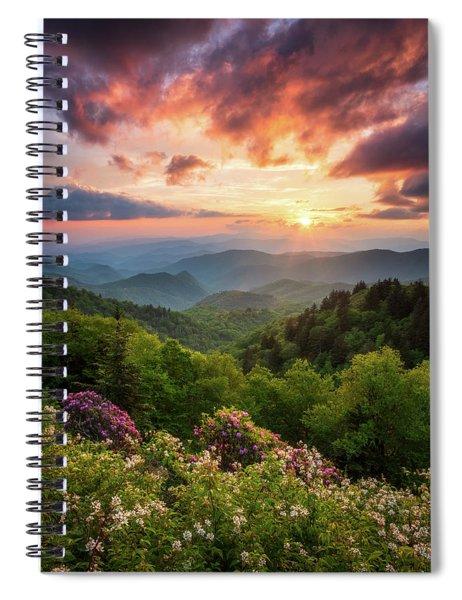 North Carolina Great Smoky Mountains Sunset Landscape Cherokee Nc Spiral Notebook