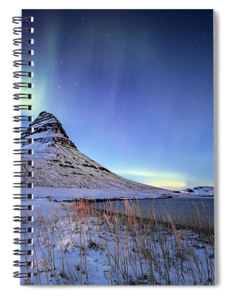 Northern Lights Atop Kirkjufell Iceland Spiral Notebook by Nathan Bush