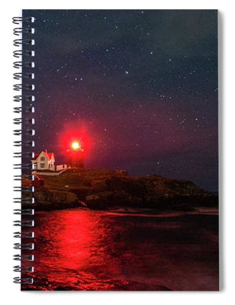 Spiral Notebook featuring the photograph Nubble At Night In Pano Format by Rod Best
