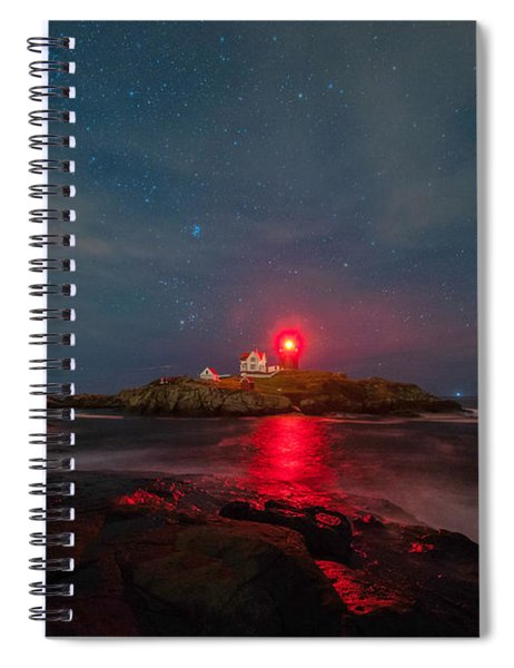 Spiral Notebook featuring the photograph Nubble At Night by Rod Best