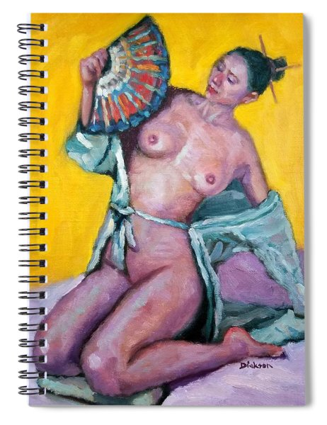 Nude Girl With Fan Spiral Notebook