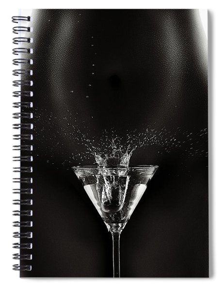 Nude Woman With Martini Splash Spiral Notebook