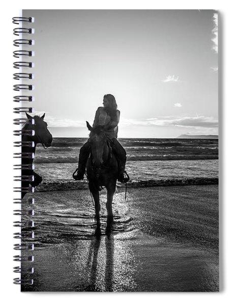 Ocean Sunset On Horseback Spiral Notebook