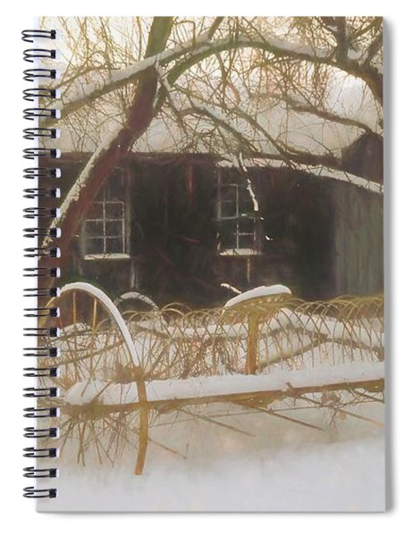 Old Hay Rake Setting In The New England Winter. Spiral Notebook