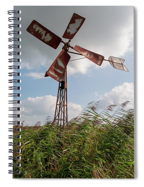 Spiral Notebook featuring the photograph Old Rusty Windmill. by Anjo Ten Kate