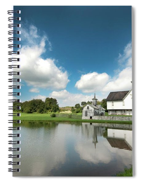 Old Star Barn And Pond Reflection Spiral Notebook