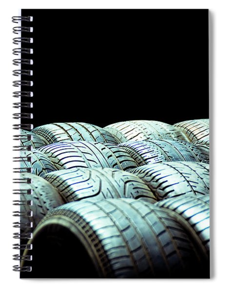 Old Tires And Racing Wheels Stacked In The Sun Spiral Notebook
