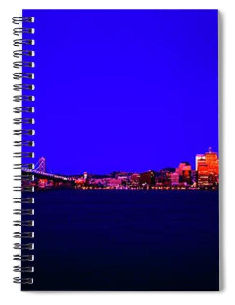 San Francisco, Skyline, Dawn, Vignette Oakland, Bay, Bridge, From Treasure,island Spiral Notebook