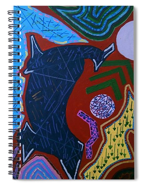Spiral Notebook featuring the painting Orange Abstract Panel  by Samantha Galactica