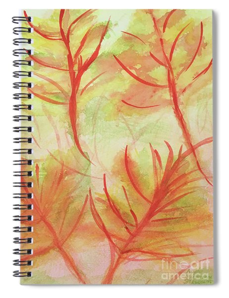 Orange Fanciful Leaves Spiral Notebook