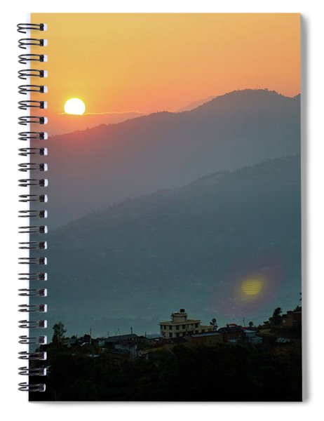 Orange Sunrise Above Mountain In Valley Himalayas Mountains Spiral Notebook