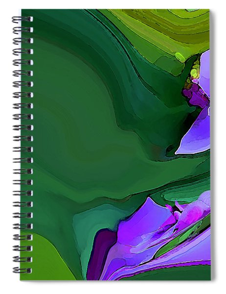 Spiral Notebook featuring the digital art Orchids And Emeralds by Gina Harrison