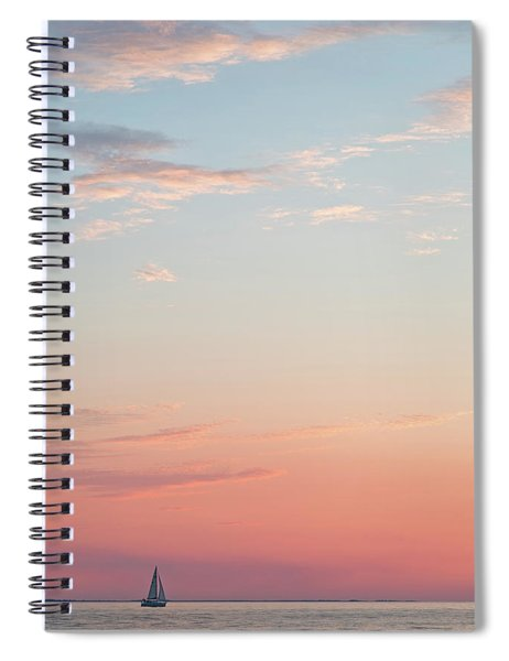 Outer Banks Sailboat Sunset Spiral Notebook by Nathan Bush