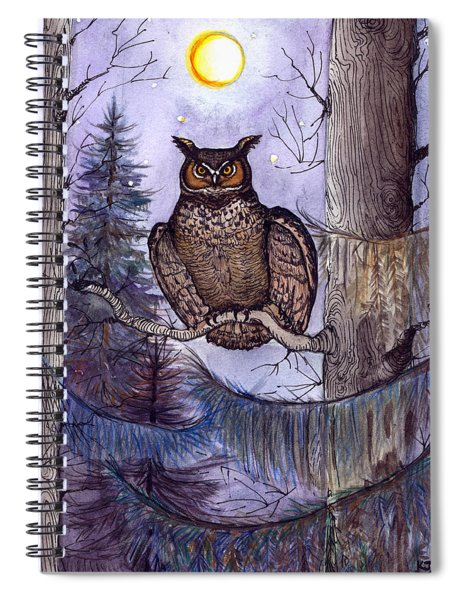 Owl Amid The Evergreen Spiral Notebook