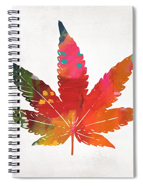Painted Cannabis Leaf 1- Art By Linda Woods Spiral Notebook